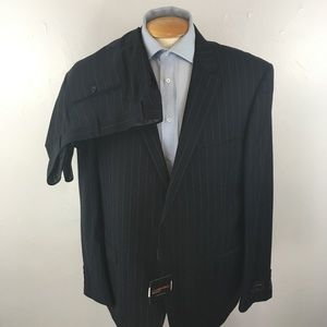 Laurentino mens suit navy stripes 48r italy ea0256
